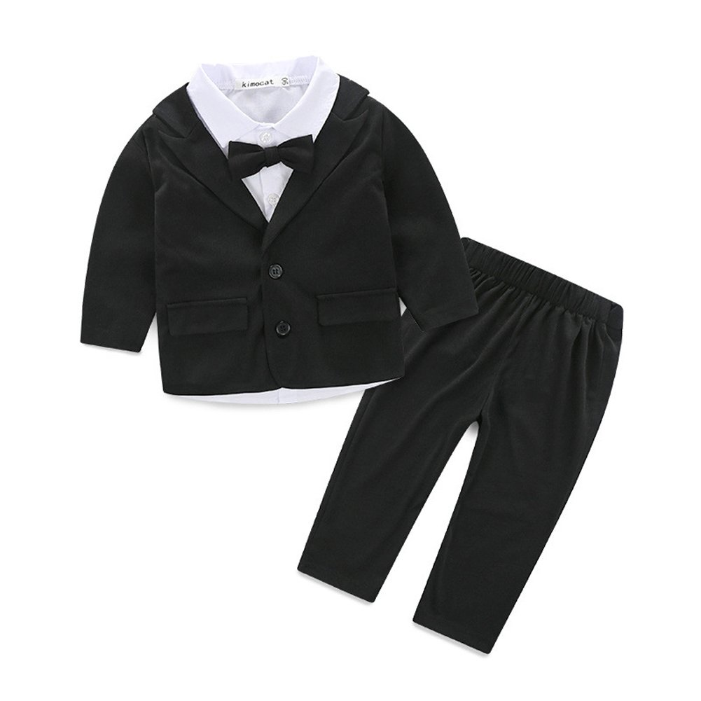Fanryn 3Pcs Newborn Baby Boys Gentleman Outfits Long Sleeve Shirt+Small Suit Jacket+Pants Clothing Set