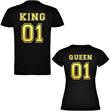 Pack de 2 Camisetas Negras para Parejas, King 01 y Queen 01 ...