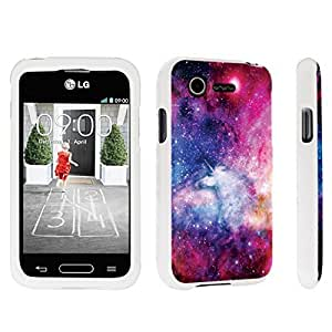 DuroCase ? LG L34C Optimus Fuel / LG Optimus Zone 2 VS415PP Hard Case White - (Unicorn Galaxy)