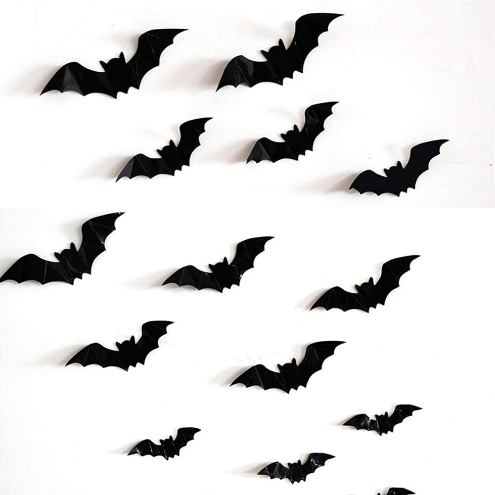 Halloween Party Supplies Decorations Bats - 3D Decorative Scary Bats Wall Decal Sticker Halloween Window Eve Decor for Home Office Decoration 28pcs