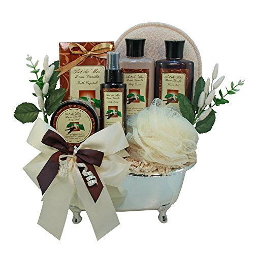 Vanilla Indulgance Spa Bath and Body Gift Basket Set (Gift Basket Ideas For Auctions)