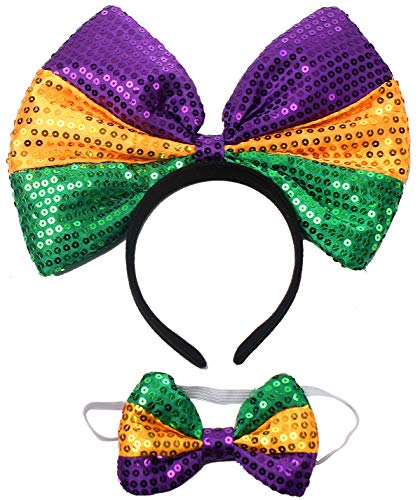 Big Bowknot Sequin Headband Mardi Gras with Bowtie Party Props Costumes Hair Accessories Set for Women (Mardi Gras)(Yellow&Purple&Green) -