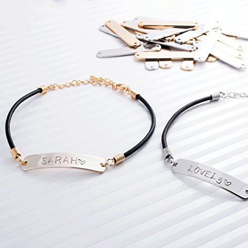 Personalized Leather Name Bar Bracelet / Gold White Gold Plated/ Black Brown Leather Chain/Chrstmas Birthday Bridesmaids - Designer Shops Uk