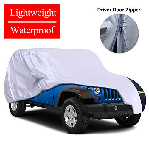 - KAKIT Jeep Wrangler Cover Waterproof, Jeep 4 Door Car Cover with Driver Door Zipper Fits Jeep Wrangler CJ,YJ, TJ & JK(4 Doors 2007-2017), UV Protection + Windproof + Long-Lasting Jeep Cover