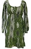 100% Cotton Shades of Green African Print 'Aysha' Long Sleeve Top - Fair Trade
