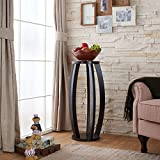 indoor pedestal stand - Indoor Plant Stand, Cappuccino Finished Round Top Telephone Table, Modern Style