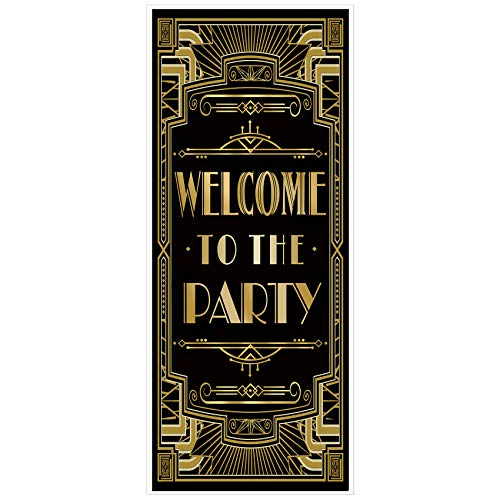 musykrafties Roaring 20s Gatsby Theme Welcome to The Party Door Cover Art Deco Jazz Party 72x30inch