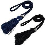 2pcs Women's Fashion Thin Braided Belt for Dress with Tassel (Deep Blue+ Black)