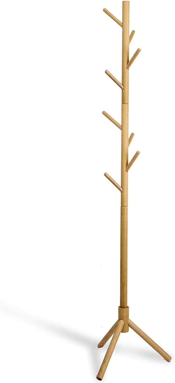 Deluxe Wooden Coat Rack Tree 8 Hook Adjustable Height Hat Jacket And Sweater Hanging Stand Easy Assembly Elegant Design For Home Or Office Hall And Entryway Home Improvement