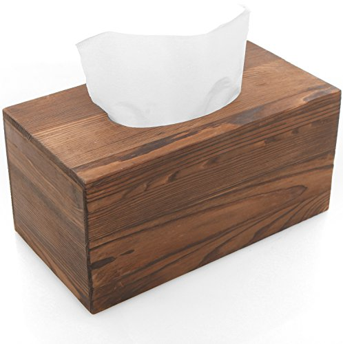 MyGift Country Rustic Brown Torched Wood Bathroom Facial Tissue Box Holder Cover/Napkin Dispenser (Box Tissue Cover Wooden)