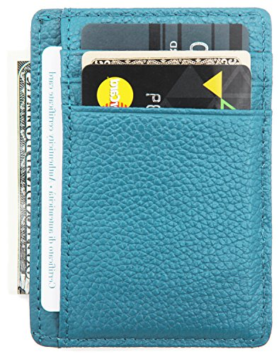 DEEZOMO RFID Blocking Genuine Leather Credit Card Holder Front Pocket Wallet With ID Card Window - Light Blue (Womens Card Case)