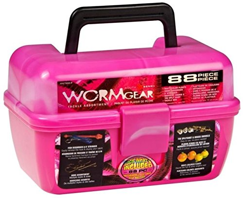 South Bend Wormgear Tackle Box-88 Piece (Pink)]()