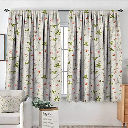 Mozenou Spring Room Darkening Curtains Happy Positive Summer Season Paris French Themed Flowers Leaves Art Decor Curtains by 63