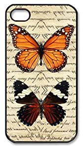 Art Fashion Black PC DIY Case for iPhone 4 Generation Back Cover Case for iPhone 4S with Butterfly