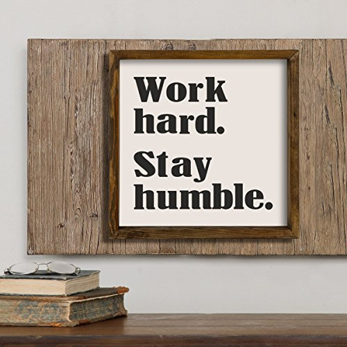Wall Art Framed Letters - LaModaHome Words Wall Art, Work Hard Stay Humble, Letter, Writing - Size (13.3