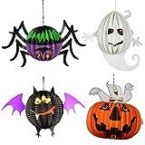 4Pcs 3D Spherical Ghost Bats Spider Pumpkins Hanging Pendant Halloween Easter Lanterns