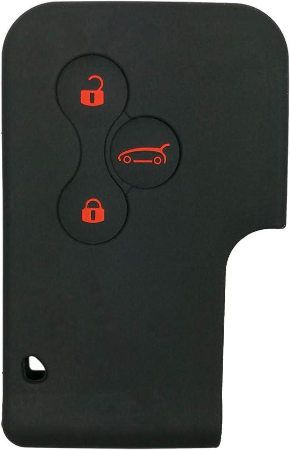 Coolbestda Silikon Schutzhülle Für Autoschlüssel Karte Gehäuse Schlüsselanhänger Schlüsselloses Einsteigen Halter Für Renault 3 Knöpfe Schwarz Auto