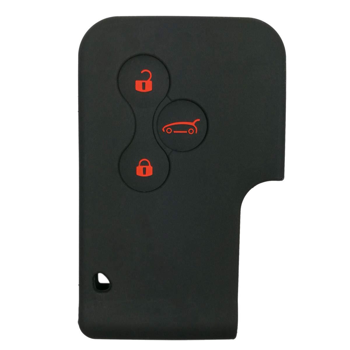 2Pcs Black Funda de silicona de Coolbestda para llave coche Renault Megane R.S 3 botones y Sc/énic