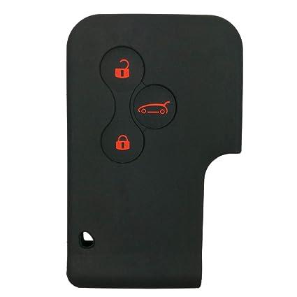 Funda de silicona de Coolbestda para llave coche Renault Megane RS y Scénic, 3 botones, negro