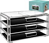 Acrylic Cosmetic Drawer Storage Organizers - Clear countertop 3 drawers box ideal for any vanity or bathroom! Makeup organizer for make up brush palette lip gloss cream perfect cosmetics case holder!
