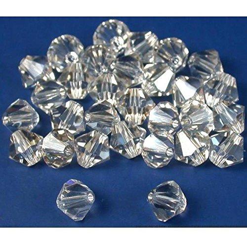 30 Silver Shade Bicone Swarovski Crystal Beads 5301 6mm - Bead 5301 Crystal Silver Shade