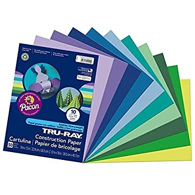 Tru-Ray Heavyweight Construction Paper, Cool Assorted Colors, 9