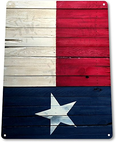 Texas Wood Sign (TIN SIGN B288 Texas Flag Wood Cottage Farm Ranch Patriotic Rustic Metal Decor)