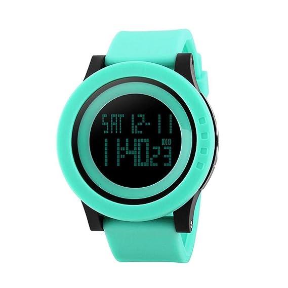 WATCH Casual Fashion, Sra. y Deportes Masculinos Relojes electrónicos Moda Reloj de Pulsera Impermeable de Silicona Digital, Tendencia Impermeable,Verde: ...