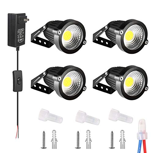 INNERWILL Landscape Lights LED Outdoor Landscape Lighting 12V 24V 500 Lumens Low Voltage Lights with Transformer IP66 Waterproof Yard Lights Garden Wall Wash Lights (4 Pack, Daylight)