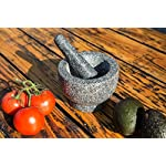 Jamie Oliver Mortar and Pestle 9 Granite mortar and pestle allows for quickly crushing spices, herbs and more Constructed with thick walls and base to form a generous 2 cup capacity Unpolished mortar interior-exterior and pestle for effective grinding