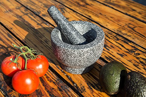 Jamie Oliver Mortar and Pestle 2 Granite mortar and pestle allows for quickly crushing spices, herbs and more Constructed with thick walls and base to form a generous 2 cup capacity Unpolished mortar interior-exterior and pestle for effective grinding