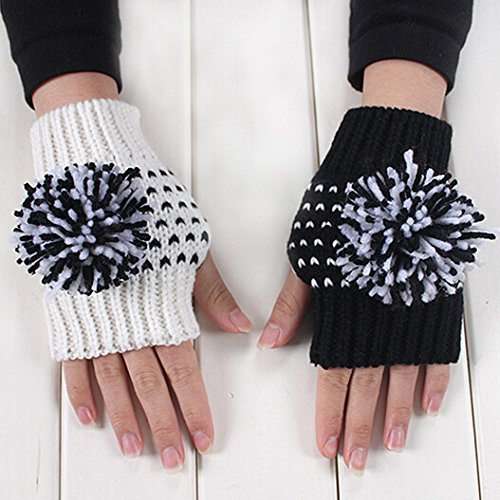 Dealzip Inc Fashion AB Model Cute Big Woolen Ball Half Finger Design Contrast Colour Winter Warm Hand-knitted Gloves White+Black