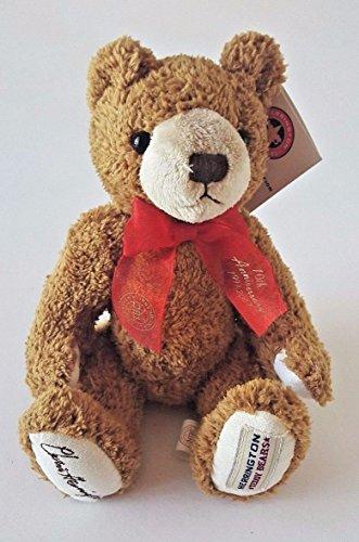 HERRINGTON TEDDY BEARS SITTING BROWN STUFFED TEDDY BEAR W/ RED RIBBON 10