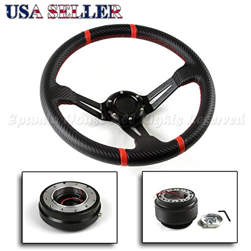 350MM 3 Red Tri-Spoke//Red Stripe Steering Wheel+Silver 6-Hole Hub Adapter+Black Quick Release For Toyota//Scion MR2//Corolla//AE86//tC