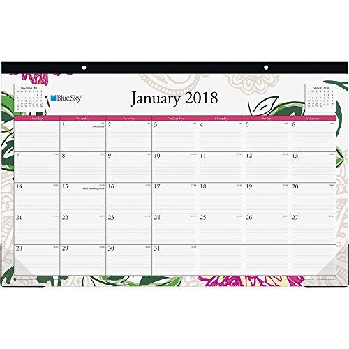 Blue Sky 2018 Monthly Desk Pad Calendar, 17'' x 11'', Dahlia by Blue Sky