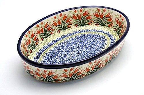 Polish Pottery Baker - Oval - Medium - Crimson Bells
