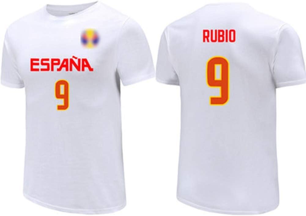 Camiseta blanca, jerseys de los hombres, / alta elasticidad / ocasional de la camiseta unisex respirable de 2019 Copa Mundial de Baloncesto Ricky Rubio No.9 Selección Nacional de España,M(167~172)CM: Amazon.es: Hogar