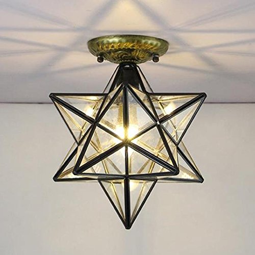 Siminda Glass Moravian Star Ceiling Chandelier Lamp Flush Mount Iron Lighting Ceiling Fixtures Transparent Glass 11.8Inch