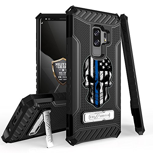 Galaxy S9 Plus/Galaxy S9+ Case, Trishield Durable Shockproof High Impact Rugged Armor Phone Cover Kickstand Samsung S9+ Only White/Printed Thin Blue Line Skull from Beyond Cell