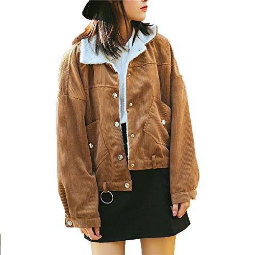 (YOUMU Vintage Women Fleece Lined Curduroy Jacket Loose Casual Sherpa Overcoat (One Size, Brown))