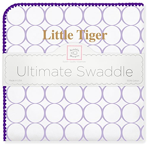 (SwaddleDesigns Ultimate Swaddle, X-Large Receiving Blanket, Made in USA Premium Cotton Flannel, LSU, Little Tiger (Mom's Choice Award Winner) )
