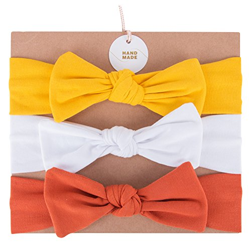 UeeSum Baby Girls Headbands with Bows 3 Pack Infant Toddler Headwrap Hair Accessories Mustard Yellow/White/Pumpkin Orange, Small -
