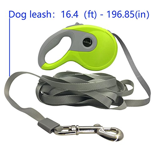 FUELUS One Button Operation, Flexible Use Automatic Telescopic Pet Rope, Suitable 110 pounds Pets Below, The Length The Traction Rope is 16.5 Feet (Green)