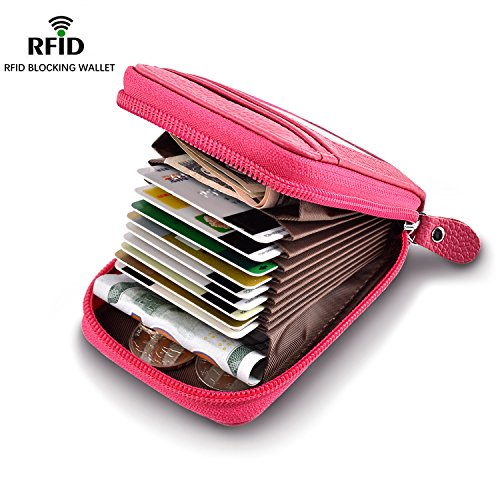 Fabric Credit Card Holder (Accordion Style RFID Blocking Card Holder Wallets for Travel and Work, Card Organizer for Business Cards and Driver License, Genuine Leather Wallet for Credit Card and Money Small Rose Red)