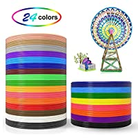 3D Pen Filament Refills, Yuntech 1.75mm PLA 3D Printer Filament Pack of 24 Different Colors, Total 384 Feet, and 3D Printing Pen Silicone Design Mat with Basic Template for 3D Drawing/Printing