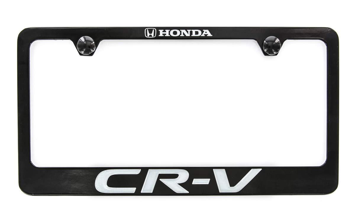 Honda CR-V Black Coated Zinc License Plate Frame Holder Wide Bottom engrave 2 Hole Baronlfi