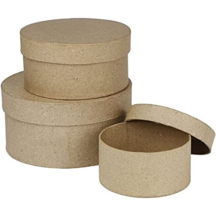 Creativ - Set de 3 cajas redondas de papel maché (10, 13 y 16