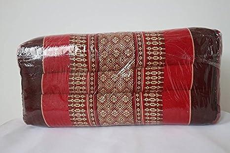 Thai rectangular tradicional tela almohada cojín rojo ...