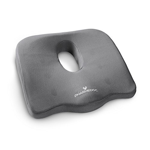 PharMeDoc Seat Cushion for Office Chair & Car Seat - Orthopedic Coccyx Cushion for Sciatica, Back, Tailbone Pain Relief