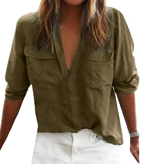 7108bcb5e Pandapang Women's Long Sleeve Pocket Classic Solid Pleated Button Down  Shirts at Amazon Women's Clothing store: